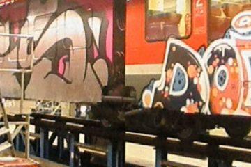 Ein Teil der großflächigen Graffitis an den Reisezügen. (Foto: Bundespolizei Münster)