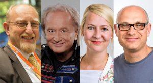 Die Gäste der nächsten Adam Riese Show (v.l.): Dr. Heinrich Kreft, Hannes Schöner, Anja Brukner & Christoph Hausdorf. (Foto: privat / Esser / Antenne Münster)