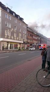Dachstuhlbrand auf der Wolbecker Straße. (Foto: Steppke)