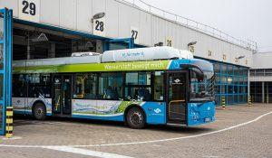 Die Testfahrten können beginnen: Der erste Wasserstoffbus der Stadtwerke kommt vorwiegend auf der Linie 2 zum Einsatz. (Foto: Stadtwerke Münster)