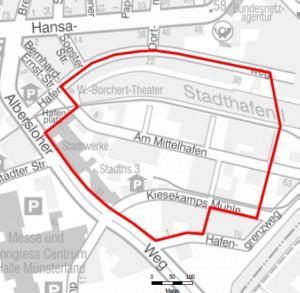 Im markierten Bereich würde im Falle einer Entschärfung evakuiert werden. (Grafik: Stadt Münster)