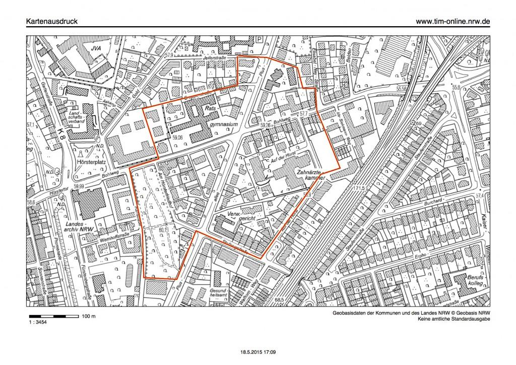 Dieses Gebiet muss am Dienstag, 26. Mai, ab 13 Uhr voraussichtlich evakuiert werden. (Karte: Stadt Münster / Presseamt)