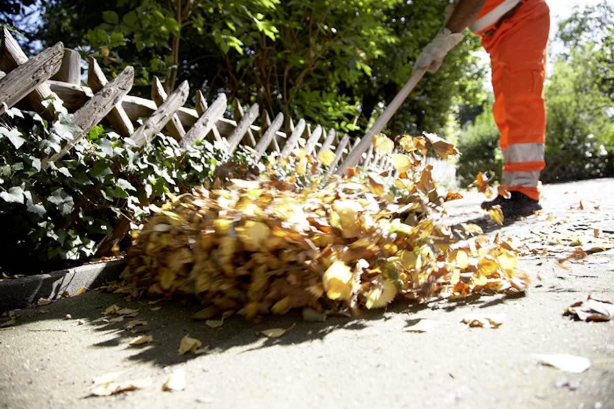 Die AWM befreien Münsters Straßen und Wege vom Laub. Am Ende der Herbstsaison werden es 1000 Tonnen sein. (Foto: Stadt Münster)