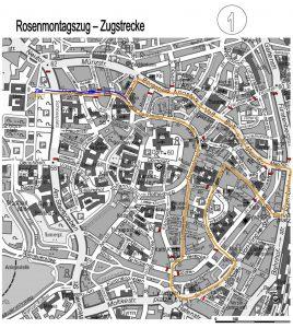 Der Verlauf des Rosenmontagszuges. (Grafik: Stadt Münster)
