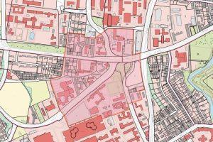 Im Falle einer Entschärfung müsste der rot markierte Bereich evakuiert werden. (Grafik: Stadt Münster)