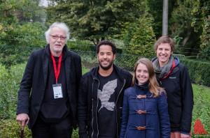 (v.l.:) Volker Maria Hügel (GGUA), Adel Tawil, Kirsten Eichler (GGUA) und Saksia Zeh (GGUA). (Foto: th)