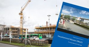 Das Buch beschäftigt sich mit der Geschichte des Hauptbahnhofs Münster. (Foto: cabe / Bildmontage)