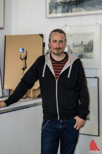 Jörg Hartmann lud am Samstag in seine neue Galerie. (Foto: cb)