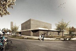 So soll das neue Kirchenzentrum der ev. Lukasgemeinde auf dem Oxford-Areal aussehen. (Visualisierung: Kuckert Architekten BDA)