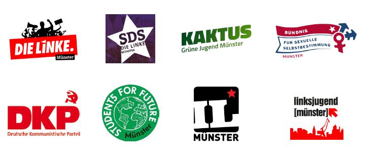 """Dem Bündnis """"Heraus zum Ersten Mai"""" gehören unter anderem LINKE Münster, Grüne Jugend Münster, die DKP Münster und das """"Bündnis für sexuelle Selbstbestimmung"""" an. (Screenshot: Philipp Schröder)"""