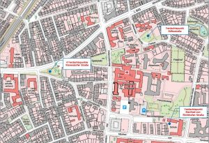 Die Lage der Kampfmittel-Verdachtspunkte in Münster-Mauritz. (Grafik: Stadt Münster)
