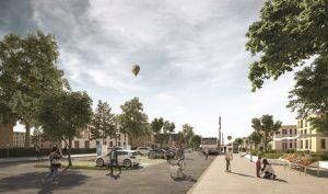 Busse, Parkplätze mit Elektro-Ladestationen und natürlich Fahrräder: Mobilität soll in den beiden neuen Quartieren möglichst klimafreundlich sein. (Animation: avpgroup)