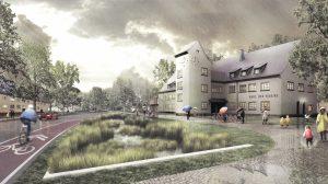 Versickern und verdunsten lassen statt zu versiegeln: Im Oxford-Quartier soll Regenwasser auf eigens angelegten Grünflächen zum Mikro-Klima beitragen. (Foto: Animation: Arge Oxford)