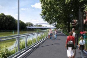 Visualisierung der Kanalpromenade entlang des Industriegebietes Loddenheide. (Foto: Stadt Münster)