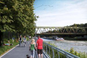 So soll die Uferpromenade am Kanal zwischen Loddenheide und Gremmendorf künftig aussehen.(Visualisierung: Stadt Münster)