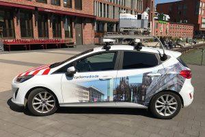 Unter anderem mit diesem auffälligen Fahrzeug werden der 3D-Befahrungen der Stadt durchgeführt (Foto: Stadt Münster)