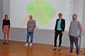 Projektpräsentation für Raphaels Eismanufaktur mit Studierenden am Hansa-Berufskolleg (rechts) mit Raphael Viehoff und der Lehrerin Christin Bücher (Foto: HBK-LV)