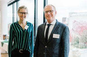 Eske Hilbrands und Prof. Dr. Helmut Grüning referierten auf der Tagung der DAW zum Starkregenereignis vor fünf Jahren in Münster. (Foto: FH Münster/ Maxi Krähling)