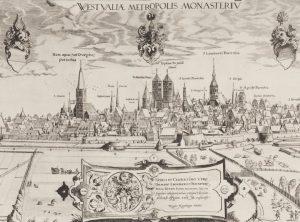 Auschnitt aus dem Kupferstich von Hogenberg mit der Ansicht der Stadt Münster von 1570, den das Stadtmuseum erst im nächsten Jahr im Original zeigen wird. (Foto: Stadt Münster, Stadtmuseum)