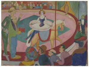 August Macke, Cirkusbild, I: Kunstreiterin mit Clowns, 1911, LWL-Museum für Kunst und Kultur, Dauerleihgabe Museum für Kunst und Kultur, Dauerleihgabe aus Privatbesitz. (Foto: LWL/Neander)