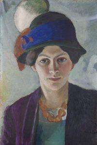 August Macke, Frau des Künstlers mit Hut, 1909, LWL Museum für Kunst und Kultur. (Foto : LWL/ Neander)