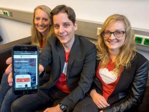 Die drei Hamburger Existenzgründer Laura Karim, Marius Murtz und Jennifer Schäfer (v.l.) sind seit Februar Stipendiaten der FH Münster. (Foto: TAFH Münster/Stefan Adam)