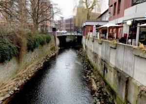 Die Münstersche Aa fließt durch ein eng betoniertes Flussbett in unmittelbarer Nähe von Wohnhäusern. (Foto: Helmut Grüning)