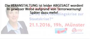 Drastische Worte der AfD-Münster zur Absage ihrer Veranstaltung. (Foto: Screenshot Homepage)