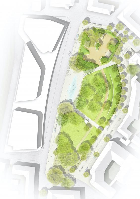 Der Entwurf des Büros Brandenfels soll Grundlage weiterer Planungen für den Bremer Platz sein. (Plan: Stadt Münster)