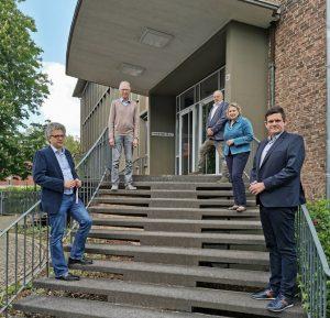 links Dr. Stefan Nacke MdL (unten), Arno Fischedick (oben) sowie rechts Meik Bruns (unten), Simone Wendland MdL (mitte) und Richard-Michael Halberstadt (oben). (Foto: CDU Münster)