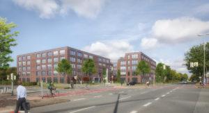 Die Visualisierung zeigt die Projektentwicklung an der Kreuzung Albersloher Weg / An den Loddenbüschen. Sie stammt von engel & hähnel architektur visuell