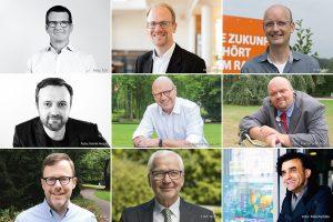 Einer dieser neun Kandidaten wird Münsters zukünftiger Oberbürgermeister. (Montage: Bührke)