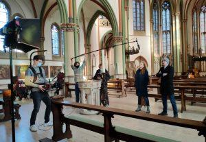 """Drehschluss für den """"CrimeBoy"""": Letzte Aufnahmen in der Kreuzkirche für die Pilotfolge der Webserie """"CrimeBoy"""". (Foto: Simon Büchting)"""