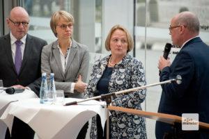 Gesprächsrunde mit Markus Lewe, Dorothee Feller, Sabine Leutheusser-Schnarrenberger und Moderator Thomas Köhler (v.l.). (Foto: Michael Bührke)
