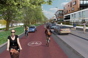 So soll die Bismarckallee am Aaaee aussehen, wenn sie als durchgehende Fahrradstraße ausgebaut ist. (Foto: Stadt Münster)