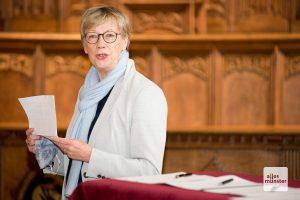 Die Präsidentin der FH Münster, Prof. Dr. Ute von Lojewski, während ihrer Rede zur Gründung der aha (Foto: Bührke)