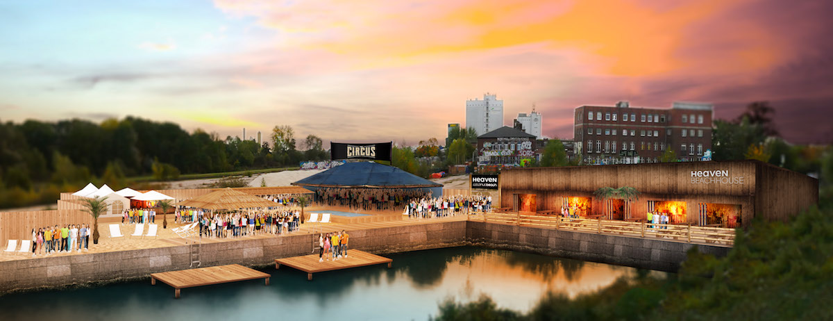 So ungefähr wird es ab dem 30. April am Stadthafen aussehen. Heaven und Beach machen hier bis zur Fertigstellung des Neubaus halt. (Bild: Presse)