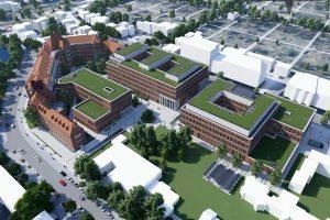 Die Animation zeigt links den historischen Hüffer-Stift und die geplanten neuen Gebäudeteile. (copyright: agn Niederberghaus & Partner GmbH)