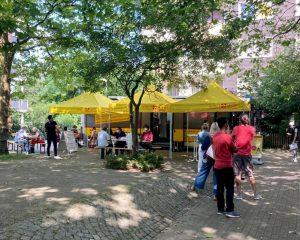 Auch in Kinderhaus machte das Team des Impfzentrums erfolgreich Station – gleich 94 Impfungen konnten vor Ort im ASB-Bus durchgeführt werden. (Foto: Amt für Kommunikation, Stadt Münster)