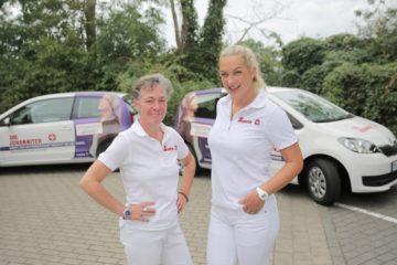 Petra Bähr und Laura Thiemian vom Pflegeteam Münster Nord. (Foto: Johanniter-Unfall-Hilfe e.V.)