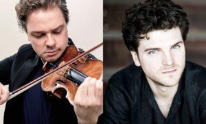 Die Solisten beim Konzert des Jungen Sinfonieorchesters: Alexander Sitkovetsky (Foto: Vincy Ng) und Gabriel Schwabe (Foto: Giorgia Bertazzi)