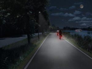 ...und so soll die Fahrradroute künftig bei Nacht erstrahlen. (Grafik: Stadt Münster)