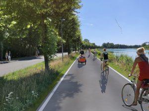 So wird die Kanalpromenade künftig bei Tag aussehen... (Grafik: Stadt Münster)