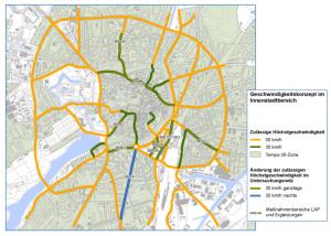 Auf allen hier grün markierten Straßen gilt jetzt Tempo 30. (Grafik: Stadt Münster)