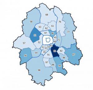 Münster ist in 45 Stadtteile aufgeteilt. Je dunkler der Stadtteil gekennzeichnet ist, desto größer ist die prognostizierte Zunahme der Einwohnerzahl. Besonders deutlich wird dies am Stadtteil Gremmendorf-West (81), wo der Wohnungsbau auf dem Gelände der York-Kaserne voraussichtlich viele neue Einwohnerinnen und Einwohner in den Stadtteil ziehen wird. (Grafik: Stadt Münster)
