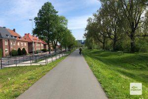 Münsters erster Deich an der Kanalstraße. (Foto: Michael Bührke)