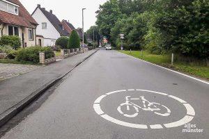 """Die Symbole sind nicht genug: Lindberghweg und Lütkenbecker Weg sollen nun mit roter Farbe zur """"echten"""" Fahrradstraße umgestaltet werden. (Foto: Ralf Clausen)"""