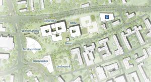 Lageplan des zukünftigen Forschungscampus Ost mit MedForCe und BBIM (Abbildung: Nickl und Partner Architekten)