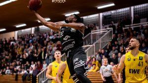 Auch Malcolm Delpeche punktete im Spiel bei den Baskets Juniors Oldenburg, doch am ende hat es nicht gereicht. (Foto: Christina Pohler/ WWU Baskets)