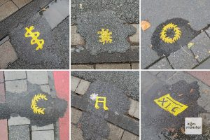Viele der Asphaltkleckse sind mit gelben Symbolen verziehrt (Collage: Michael Bührke)